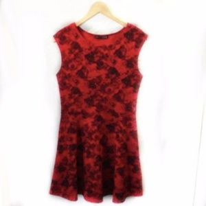 ATMOSPHERE Red & Black Floral Dress Sz 10 A-line